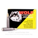 Cheap 223 Rem Ammo For Sale - 55 Grain Copper FMJ Ammunition in Stock by Wolf Polyformance - 20 Rounds