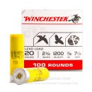 "Bulk 20 Gauge 2 3/4"" #7.5 Heavy Game & Target Ammunition From Winchester USA - 100 Rounds"