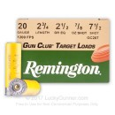 "Cheap 20 Gauge Ammo For Sale - 2-3/4"" 7/8 oz #7.5 Shot Ammunition in Stock by Remington Gun Club Target Load - 25 Rounds"