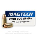 9mm Luger Ammo For Sale - 115 gr +P JHP Magtech Ammunition In Stock