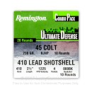 "Premium 45 Colt 230 Gr JHP - 410 Bore - 2-1/2"" 000 BuckShot - Remington Ultimate Defense - ""The Judge""- 20 Rounds"