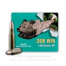 Cheap 308 Win 140 grain soft point Brown Bear Ammunition For Sale - 20 Rounds