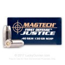 Premium 40 S&W Defense Ammo For Sale - 130 gr SCHP - Magtech First Defense Justice Ammunition In Stock - 20 Rounds