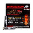 "Bulk 410 Gauge Ammo For Sale - 2-1/2"" 3 Disc/12 BB Combo Shot Ammunition in Stock by Winchester Defender - 100 Rounds"
