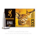 Premium 270 Ammo For Sale - 134 Grain Polymer Tipped Ammunition in Stock by Browning BXR - 20 Rounds