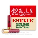 "Premium 410 Gauge Ammo For Sale - 2-1/2"" Max Dram 1/2 oz. #8 Shot Ammunition in Stock by Estate Super Sport Competition - 25 Rounds"