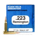 Premium 223 Rem Ammo For Sale - 77 Grain Sierra MatchKing HP Ammunition in Stock by Black Hills Remanufactured - 50 Rounds