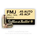 Sellier & Bellot 45 ACP Ammo In Stock - 230 Grain FMJ 45 Auto Ammunition For Sale
