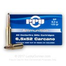 6.52x52mm Carcano Ammo For Sale - 123 gr SP Ammunition In Stock by Prvi Partizan - 20 Rounds