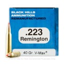 Cheap 223 Rem Ammo For Sale - 40 Grain V-Max Ammunition in Stock by Black Hills Remanufactured - 50 Rounds