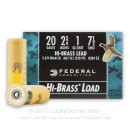 "Cheap 20 Gauge Ammo For Sale - 2-3/4"" 1 oz. #7-1/2 Shot Ammunition in Stock by Federal Game Shok Hi-Brass - 25 Rounds"