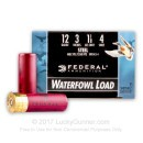 """Bulk 12 Gauge Ammo For Sale - 3"""" 1-1/8 oz. #4 Steel Shot Ammunition in Stock by Federal Waterfowl Load - 250 Rounds"""
