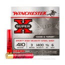 "Cheap 410 Gauge Ammo For Sale - 3"" 3/8 oz. #6 Shot Ammunition in Stock by Winchester Xpert Steel Game - 25 Rounds"