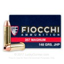 Cheap 357 Mag Ammo For Sale - 148 gr JHP Fiocchi Ammunition In Stock - 50 Rounds