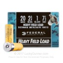 "Bulk 20 Gauge Ammo For Sale - 2-3/4"" 1 oz. #7-1/2 Shot Ammunition in Stock by Federal Game Shok - 250 Rounds"