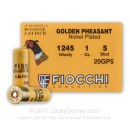 "Cheap 20 Gauge Ammo For Sale - 2-3/4"" 1 oz. #5 Shot Ammunition in Stock by Fiocchi Golden Pheasant Nickel Plated - 25 Rounds"