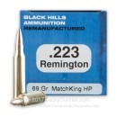 Cheap 223 Rem Ammo For Sale - 69 Grain Sierra Matchking OTM Ammunition in Stock by Black Hills Remanufactured - 50 Rounds