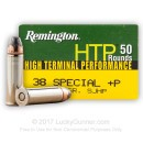 Bulk 38 Special +P - 125 Grain SJHP - Remington HTP Self Defense Ammo - 500 Rounds