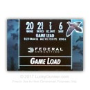 "Cheap 20 ga Ammo For Sale - 2-3/4"" 7/8 oz #6 lead shot by Federal Game-Shok - 25 Rounds"