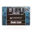 "Bulk 20 ga Ammo For Sale - 2-3/4"" 7/8 oz #8 lead shot by Federal Game-Shok - 250 Rounds"