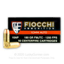 Cheap 10mm Auto Ammo For Sale - 180 Grain FMJTC Ammunition in Stock by Fiocchi - 50 Rounds