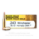Premium 243 Ammo For Sale - 80 Grain Hornady GMX Ammunition in Stock by Black Hills Gold - 20 Rounds