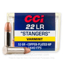Premium 22 LR Ammo For Sale - 32 Grain CPHP Ammunition in Stock by CCI Stangers - 100 Rounds