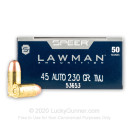 45 Auto Ammo - 230 gr TMJ - Speer Lawman 45 ACP Ammunition - 1000 Rounds