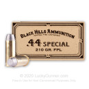 Premium 44 Special Ammo For Sale - 210 Grain Lead Flat Point Ammunition in Stock by Black Hills Ammunition - 50 Rounds