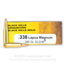 Premium 338 Lapua Mag Ammo For Sale - 285 Grain ELD Match Ammunition in Stock by Black Hills Gold - 20 Rounds
