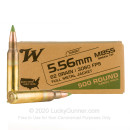 Bulk 5.56x45 Ammo For Sale - 62 Grain FMJ M855 Ammunition in Stock by Winchester - 500 Rounds
