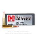 Premium 243 Ammo For Sale - 90 Grain ELD-X Ammunition in Stock by Hornady Precision Hunter - 20 Rounds