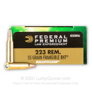 Premium 223 Rem Ammo For Sale - 55 Grain RHT Frangible Ammunition in Stock by Federal LE BallistiClean - 20 Rounds