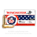 Cheap 38 Special Ammo For Sale - 130 Grain FMJ Ammunition in Stock by Winchester USA Target Pack - 50 Rounds