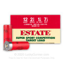 "Cheap 12 Gauge Ammo For Sale - 2-3/4"" 1-1/8oz. #7.5 Shot Ammunition in Stock by Estate Super Sport Competition - 25 Rounds"