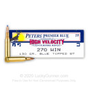 Premium 270 Ammo For Sale - 130 Grain Blue Tipped BT Ammunition in Stock by Remington Peters Premier Blue - 20 Rounds