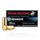 Premium 40 S&W Ammo For Sale - 135 Grain Frangible Ammunition in Stock by Winchester Ranger - 50 Rounds