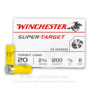 """Cheap 20 Gauge Ammo For Sale - 2-3/4"""" 7/8oz. #8 Shot Ammunition in Stock by Winchester Super Target - 100 Rounds"""