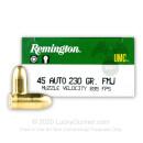 45 ACP Ammo For Sale - 230 gr MC - Remington UMC Ammunition In Stock - 50 Rounds