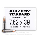 Cheap 7.62x39 Ammo For Sale - 122 Grain FMJ Ammunition in Stock by Red Army Standard - 20 Rounds