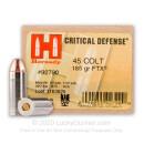 45 Long Colt Ammo - 185 gr JHP FTX Critical Defense - Hornady Ammunition - 20 Rounds