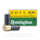 "Cheap 12 Gauge Ammo For Sale - 2-3/4"" 00 Buck LE Reduced Recoil Ammunition by Remington - 25 Rounds"