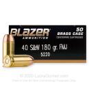40 cal Ammo For Sale  - 180 gr FMJ Blazer Brass 40 S&W Ammunition - 50 Rounds