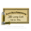 Premium 38 Long Colt Ammo For Sale - 158 Grain LRN Ammunition in Stock by Black Hills - 50 Rounds