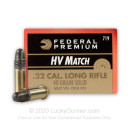 Premium 22 LR Ammo For Sale - 40 Grain Solid Point (LRN) Ammunition in Stock by Federal Gold Metal High Velocity Match - 50 Rounds