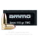 Cheap 9mm Ammo For Sale - 115 Grain TMJ Ammunition in Stock by Ammo Inc. - 50 Rounds