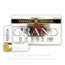 """Premium 12 Gauge Ammo For Sale - 2-3/4"""" 1-1/8oz. #7.5 Shot Ammunition in Stock by Federal Gold Medal Grand Plastic - 25 Rounds"""