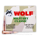 Bulk 7.62x54r Ammo For Sale - 148 Grain FMJ Ammunition in Stock by Wolf Military Classic - 500 Rounds