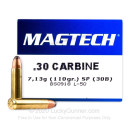 Cheap 30 Carbine - 110 grain soft point Magtech Ammunition - 50 Rounds