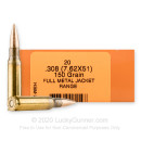 Cheap 7.62x51 Ammo For Sale - 150 Grain FMJBT Ammunition in Stock by HSM Training - 20 Rounds